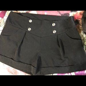 Pants - Plus Size Sailor High Waist Black Shorts